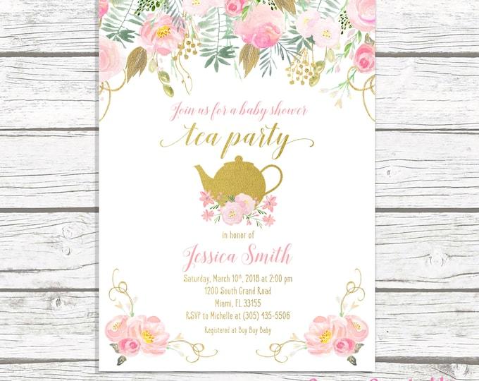 Tea Party Baby Shower Invitation, Tea Party Invitation, Baby Shower Tea Invite, Pink and Gold Baby Shower Invitation, Girl Baby Shower