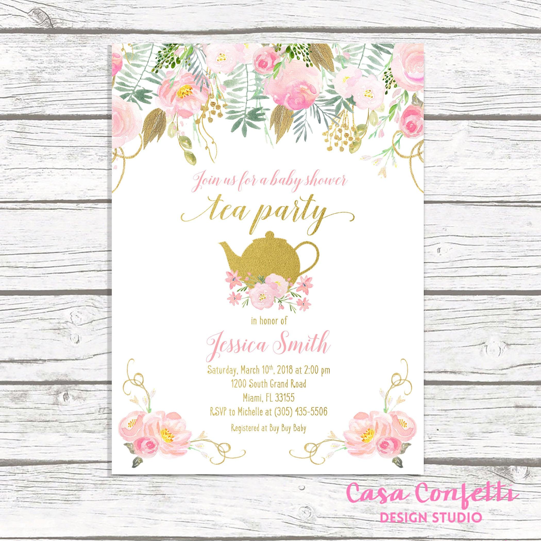 Tea Party Baby Shower Invitation, Tea Party Invitation, Baby ...