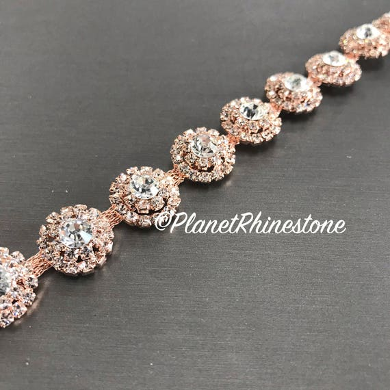 Rose Gold Round Rhinestone Trim #0103