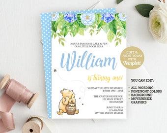 Classic Winnie The Pooh Birthday Invitation, Pooh Birthday, Pooh Invitation, Pooh Bear, First Birthday, INSTANT DOWNLOAD, Boy Birthday