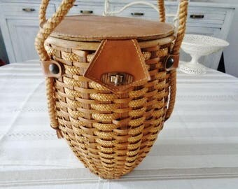 French Wicker and Leather bag ,handbag vintage 50's,  Handcrafted handbag,leather and wicker bag