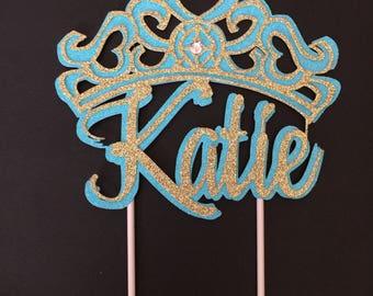 Princess, crown custom, cake topper, Beautiful crown cake topper, Custom,Jeweled crown,cake topper crown,multi colored custom crown,1-Ct.