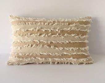 """Designer Lumbar Pillow - Beige accent Pillow - Decorative Pillow Cover  12"""" x 20"""""""