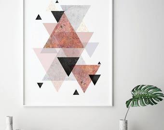 Geometric Print, Printable Art, Geometric Poster, Scandinavian Modern, Scandinavian Print, Scandinavian Art, Minimalist, Blush, Rose Gold