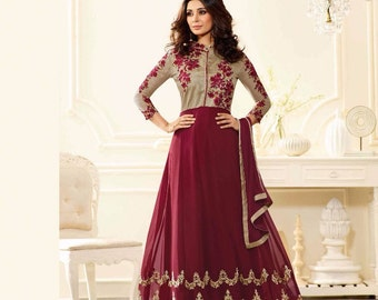 Indian Designer Gray & Maroon Colored Faux Georgette Salwar Suit Anarkali heavy embroidered Suit Dress
