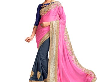 Indian Designer Pink And Grey Colored Chiffon And Georgette Saree Formal Bridal Saree Party Wear Saree for Women