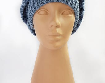Hand knit hat, knitted spiral hat, winter accessory for women, chunky knit hat, blue beanie.
