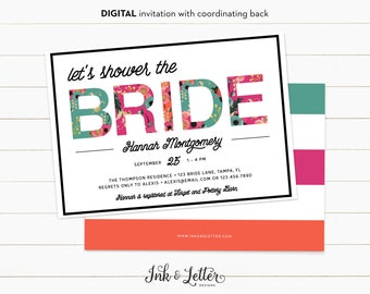 Floral Bridal Shower Invitation - Bridal Shower Invitation Printable - Wedding Shower Invitation - Modern Bridal Shower Invitation