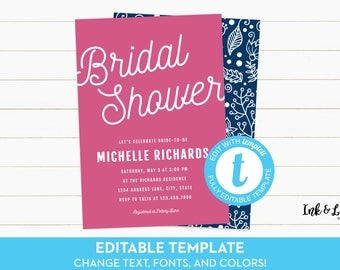 Editable Bridal Shower Invitation - Templett Bridal Shower Invitation - Pink and Navy Invitation - Printable Invitation - Navy Bridal Shower