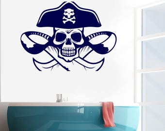 Wall Vinyl Decal Symbols of Pirate  Scull Hat Knives Adventure Kids Room  Decor (#2661dn)