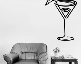 Wall Vinyl Decal Cocktail Glass with Cocktail Tube Cafe Restaurant Decor  (#2748dn)