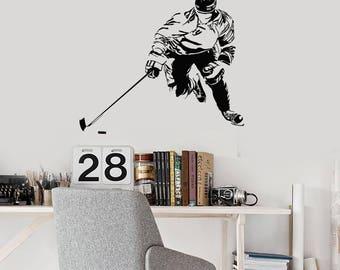 Hockey Player Vinyl Wall Decal Ice Puck Sports Fan Art Teen Room Stickers Mural (#2673di)