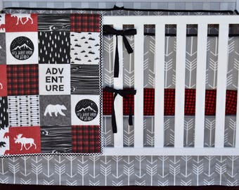 Woodland Adventure Crib Bedding, Lumberjack bedding, woodland nursery, red buffalo plaid, red and black , quilt, bumpers, deer, skirt