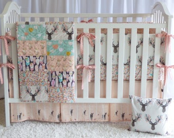 3 or 4 PIECE SET -Deer Bedding Set in Tulip , quilt, modern bedding, crib bedding, fawn, stag, deer, going stag, baby girl,