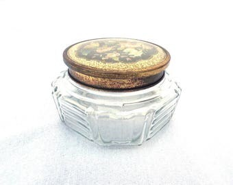 "FREE SHIPPING Regent of London, Art Deco Powder Box, Glass Powder Pot, Lidded Powder Jar, Trinket Pot, Black Floral Lid 4.5"" x 2.5"""