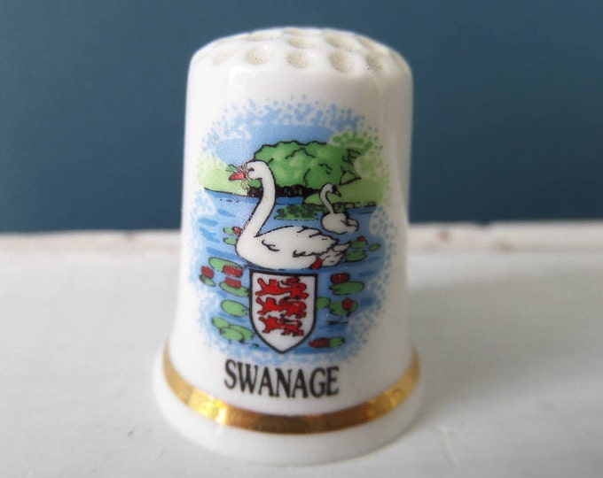 "Porcelain Thimble, Swanage, Dorset Coastal Resort, English Bone China, Made in England, Excellent Condition, 1"" x 0.75"", Circa 1980"