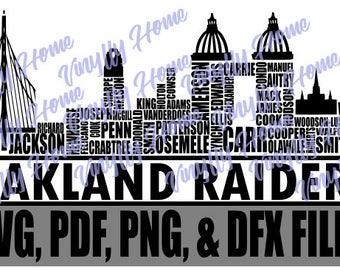 Oakland Raiders SVG; Oakland Skyline SVG; Oakland Raiders Skyline SVG; Oakland Raiders Players; Oakland Roster