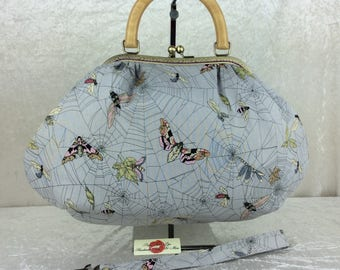 Gothic Ghastlie Web Moth Betty frame handbag purse shoulder bag Alexander Henry handmade in England