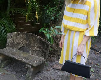 1970s Yellow and white stripped dress