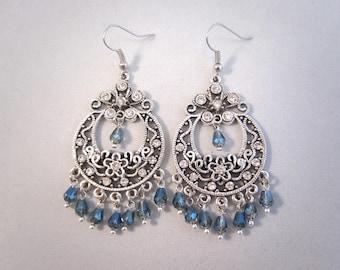 Tibetan Silver Chandelier Earrings blue, glass crystal and rhinestone