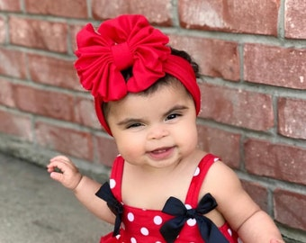 Red Messy Bow Headband, Messy Bow, Headwrap, Baby Headband, Turban, Girl Bow, Big Bow, Floppy Bow, Baby Bow