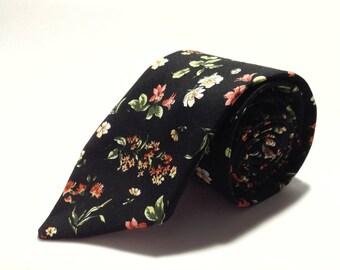 "Black Retro Handmade Floral Tie 3.10""| floral tie | flower tie |Handmade skinny tie | wedding tie | wedding ideas | groom | Black floral"