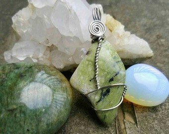 Epidote in Serpentine Wire Wrap