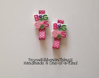 Big Sister Hair Clips for Girls Toddler Barrette Kids Hair Accessories Grosgrain Ribbon No Slip Grip