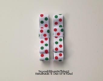 Red Green   Big Dots   Hair Clips for Girls   Toddler Barrette   Kids Hair Accessories   Grosgrain Ribbon   No Slip Grip   Christmas