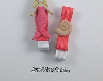 Mermaid | Shell | Hair Clips for Girls | Toddler Barrette | Kids Hair Accessories | Coral Grosgrain Ribbon | No Slip Grip | Beach | Summer