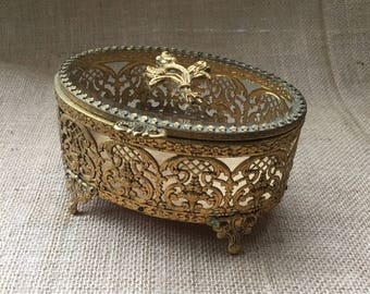 Vintage Gold Filigree Jewelry Box--Gold Ormolu Jewelry Box--Ornate Jewelry Casket--Gold Metal Oval Jewelry Box
