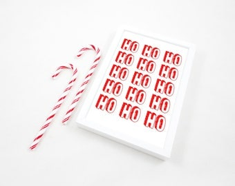 Multiple Red Ho Ho Ho Printable Print, Christmas Art Print, Christmas Printable, Santa Print, Xmas Poster, Kids Room Wall Art, JPG & PDF