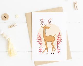 Reindeer Christmas Card, Woodland Art Print, Woodland Christmas, Holiday Card, Reindeer Print, Christmas card pack; Christmas card set