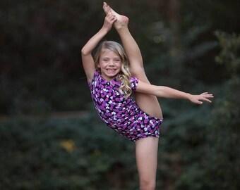 Purple Hearts Leotard, Valentines Day, Black Leo, Ballerina, Bodysuit, Baby Leotard, Toddler, Dance, Gymnastics Leotard, Leotards for Girls
