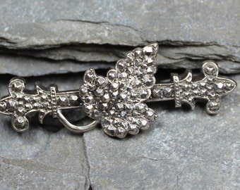 Antique Victorian Silver Ivy Leaf Brooch Pin