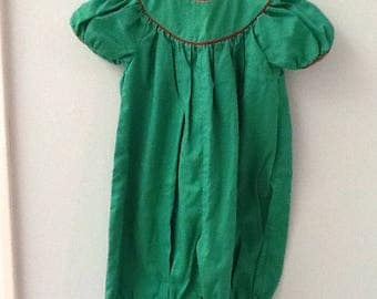 3 Month Emerald Green Long All with Red Piping