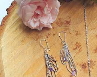 Dragonfly Wing Earrings, Amethyst, purple, origami, fairy, silver, geometric, animal, love, romantic