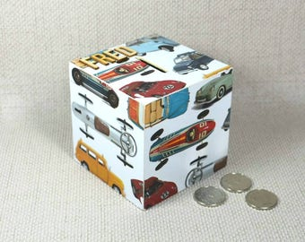 Personalised Classic Cars Wooden Money Box
