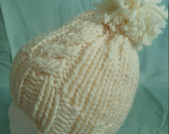 Cable Knit Hat. Warm, Chunky Knit Hat. Made to Order.