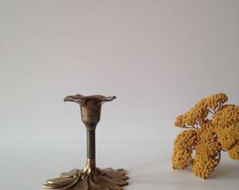 antique french brass flower, Brass flower candlestick candle holder