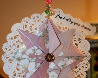 Origami Dusty Rose Compass Star Paper Lace 'Dreams' Hanging Ornament