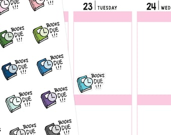 Books Due Planner Stickers, Book Stickers, Reading Stickers, Library Stickers