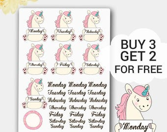 Unicorns Days of the Weeks Stickers, Monday, Tuesday, Wednesday, Thursday, Friday, Saturday, Sunday, 29 Stickers