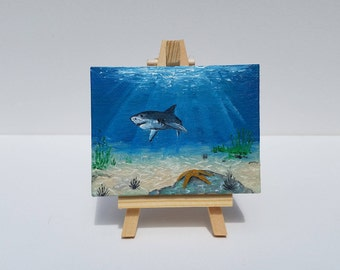 Shark Reef Miniature Oil Painting with Easel
