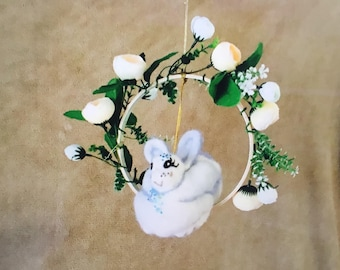 Bunny Cot Mobile, Felted Rabbit Mobile, Needle Felted Mobile, Nursery Decor, Hanging Baby Mobile, Bunny and Silk Flower Baby Mobile