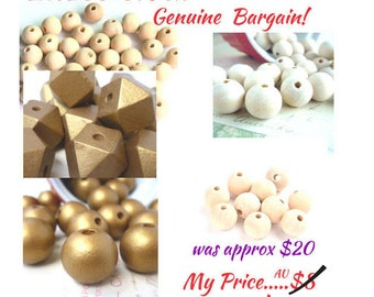 EXCESS STOCK Wooded Bead Bundle,large bag of about 100 14mm wood beads plus Variety of other wooden Beads, Great Prices, DETASH