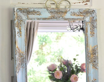 Farmhouse Style Mirror Chippy Paint Large Ornate Wedding Decor