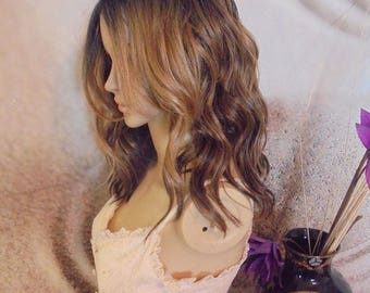 Ombre Mixed Brown with Blonde highlights wig. lace parting
