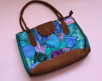 Ana - Embroidered bag - Mexican - Leather - Purse - Flowers