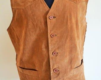 Vintage Mens suede Genuine Leather Vest / Brown / Large / L / Biker / Rocker / Soft leather